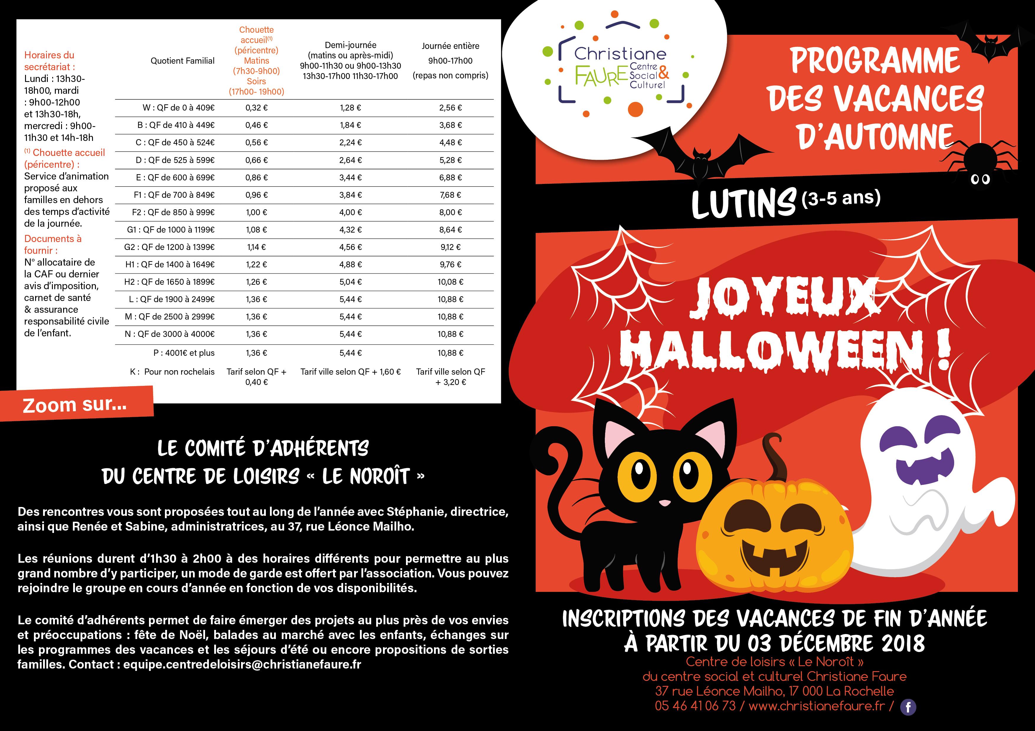 vacances automne 2018 Programme vacances du0027automne lutins 2018